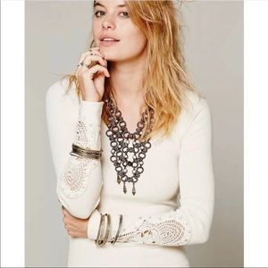 Free People Synergy Cream Crochet Cuff Thermal